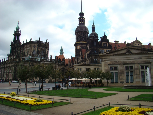 Theaterplatz facing The Catholic Church of the Royal Court of Saxony, Dresden