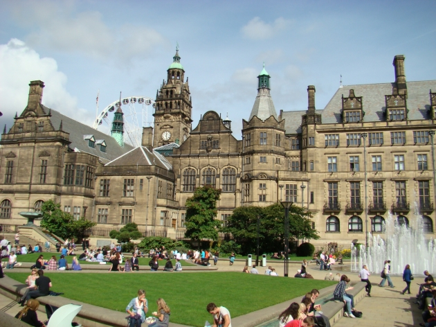 The Peace Gardens and Sheffield Town Hall