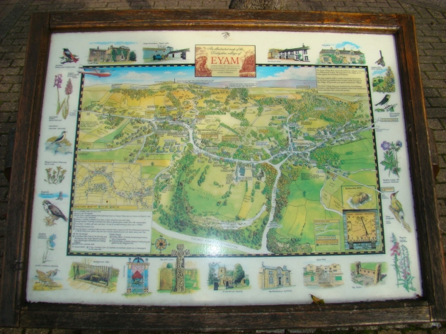 The illustrated map of the Derbyshire village of Eyam