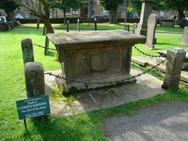 Tomb of Catherine Mompesson, who died of the plague 25 Aug 1666