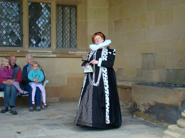 Introductory talk by 'Bess of Hardwick' as she welcomes visitors to her home.