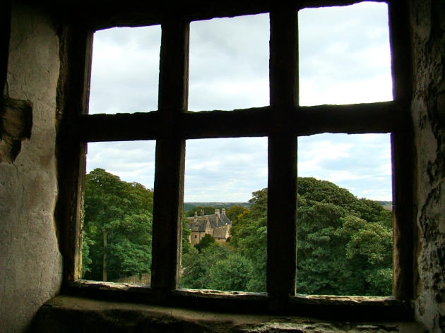 Looking out from inside the Old Hall