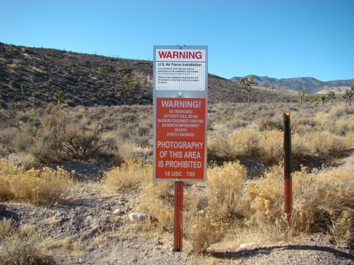 Area 51 Boundary Sign - Left hand side