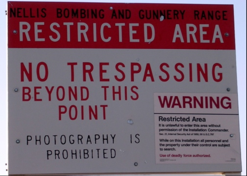 Former Area 51 Boundary sign